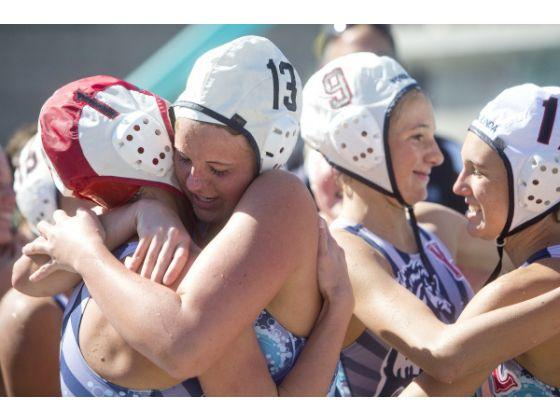 Women's Waterpolo CIF game, players hugging