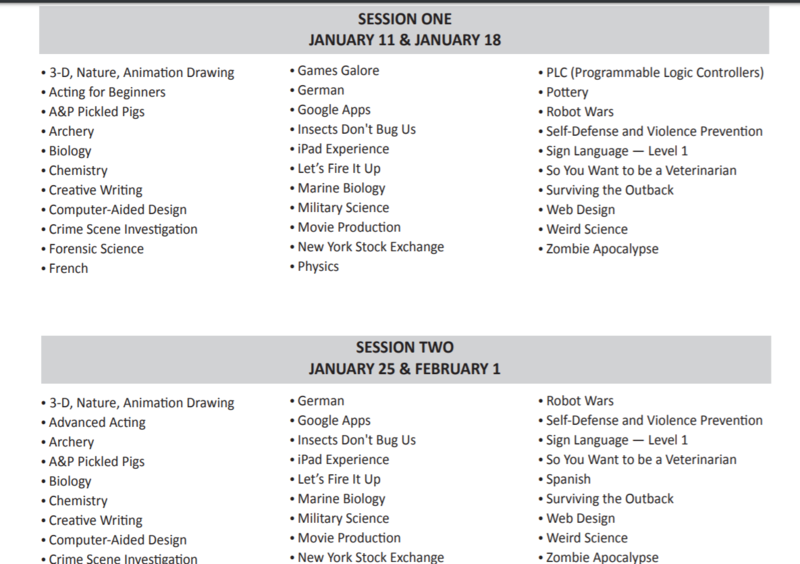 List of classes offered in each session of the Talented and Gifted program.
