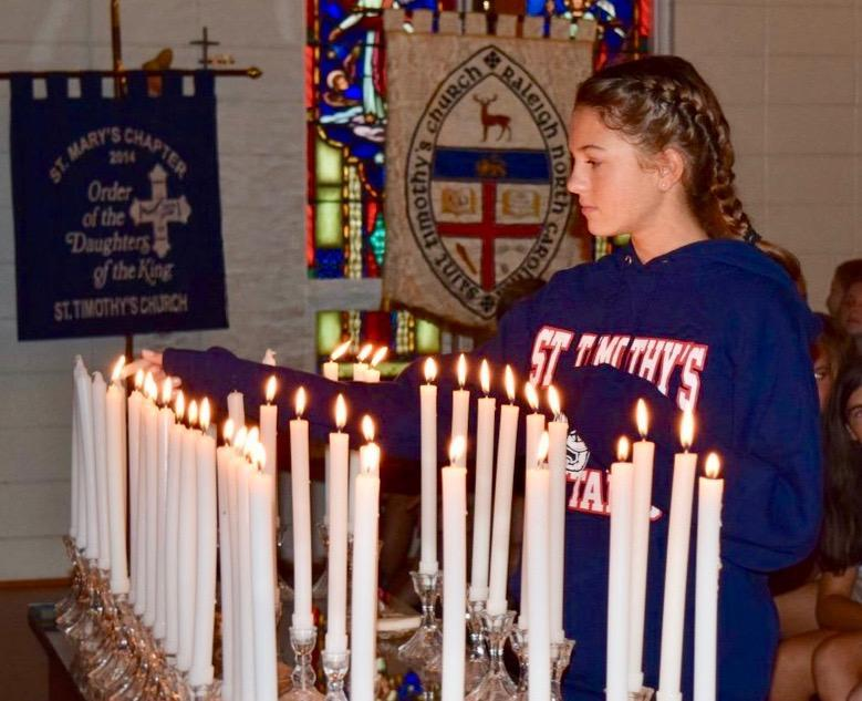 St. Timothy's School student being inducted into the National Junior Honor Society