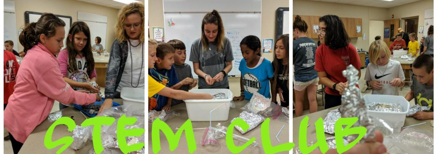 Elementary science students make things our of foil