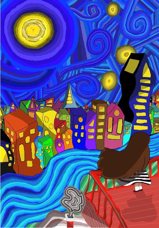 Starry night inspired digital artwork