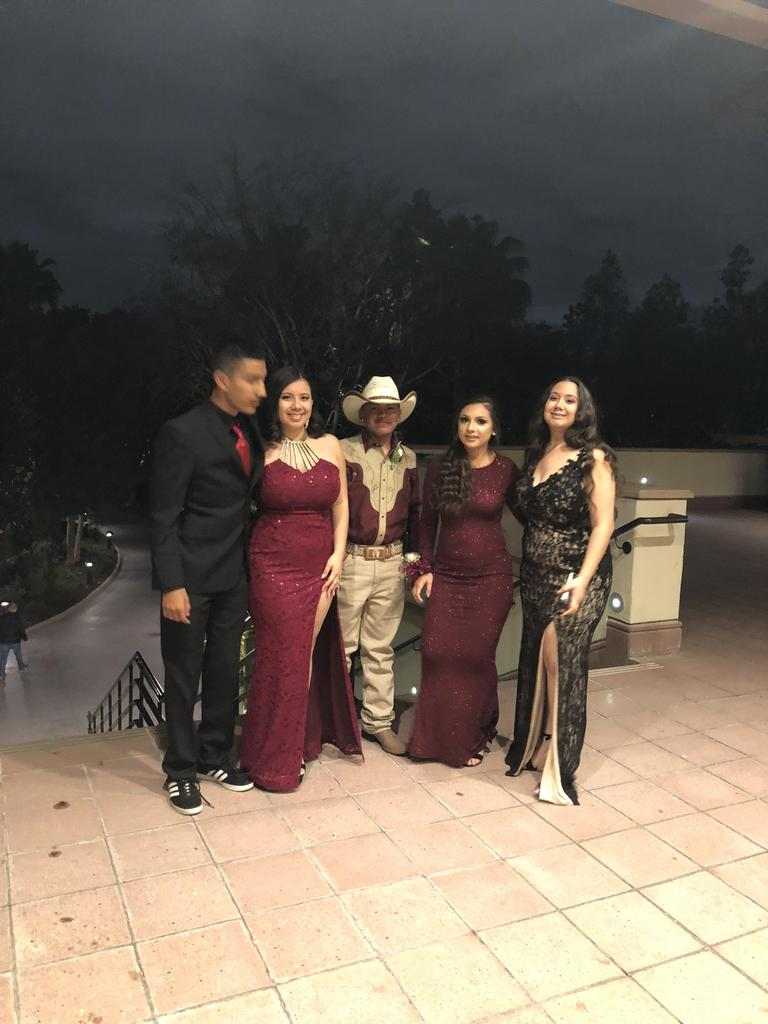 Students pose at prom