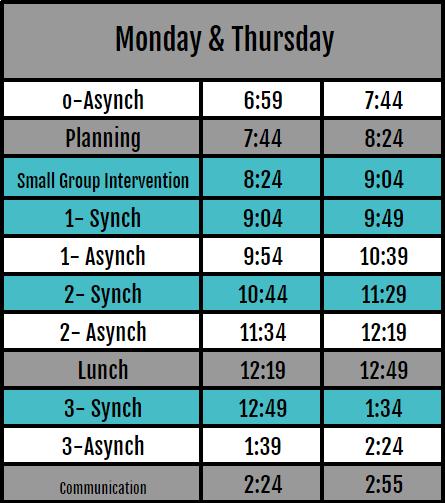 Monday/Thursday Schedule