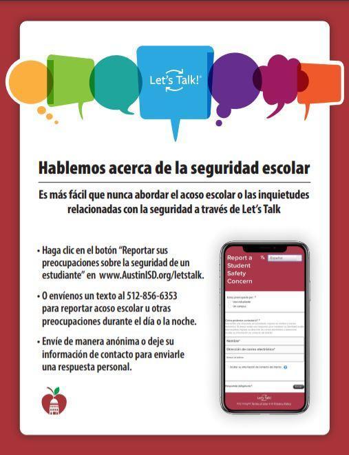 Report School Safety Concern - Spanish