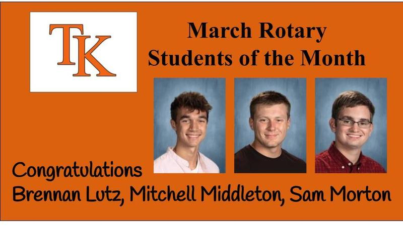 Brennan Lutz, Mitchell Middleton and Sam Morton were named the Rotary Students of the Month in March.