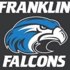 Franklin Falcons logo with cartoon drawing of a falcon head