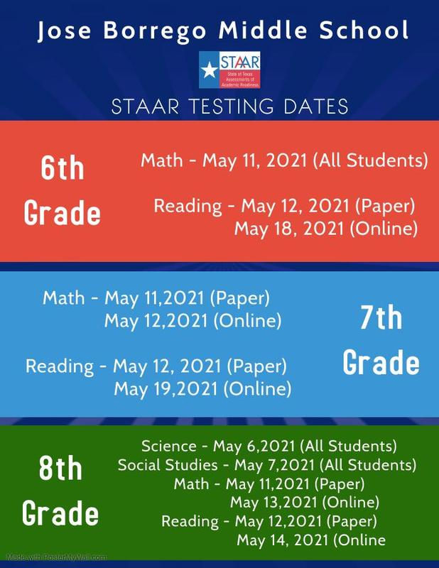 JBMS-UPCOMING STAAR TEST DATES Featured Photo