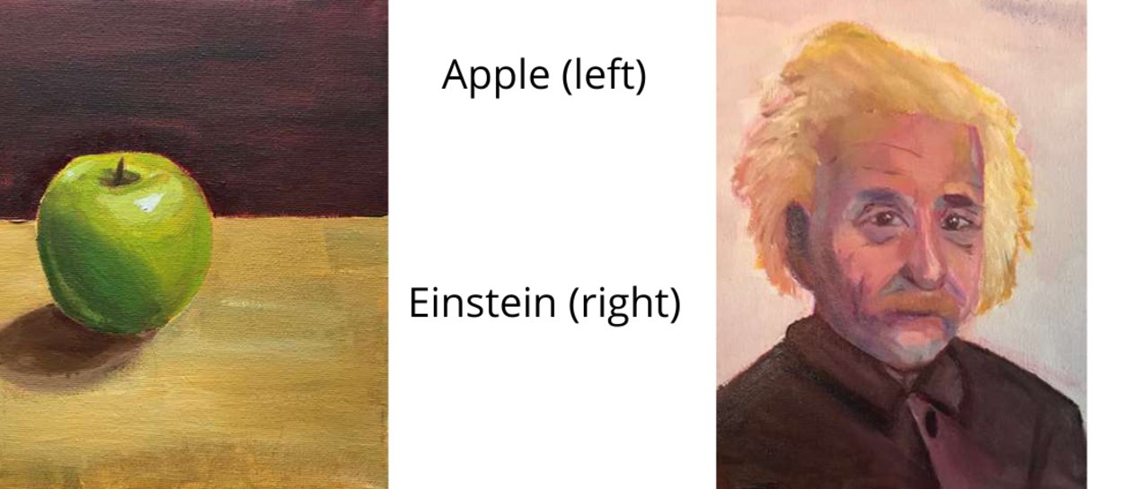 picture of apple painting and Einstein painting
