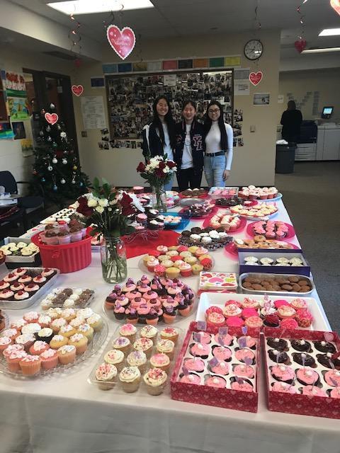 PTSA cupcakes on staff room table