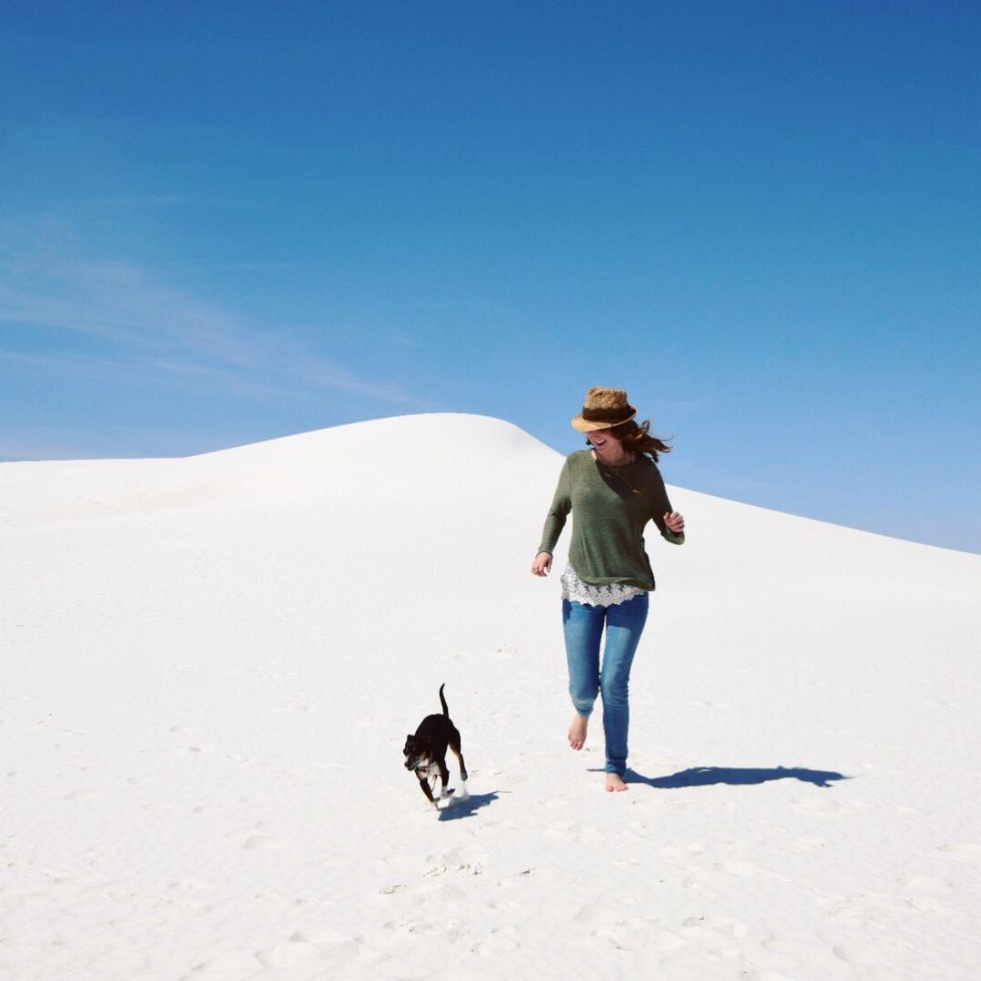 Pearl and I traipsing all over White Sands, NM