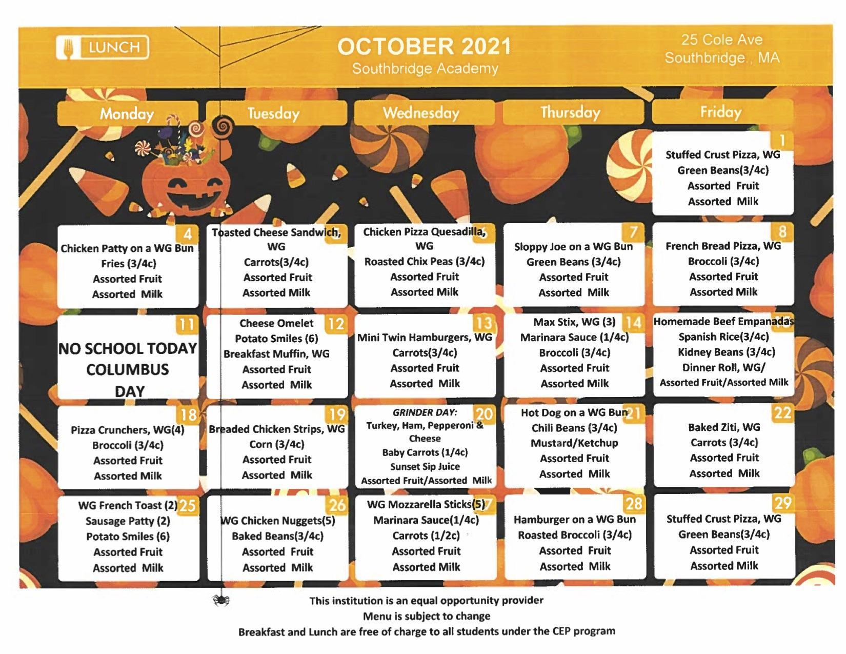 October 2021 menu for Southbridge Academy. This item is also available on the same page as a download.