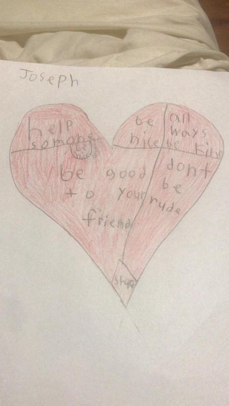 Joseph's kindness heart drawing