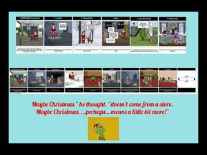 The Grinch story boards with quote