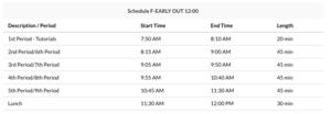 Bell Schedule F