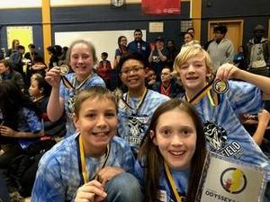 :  A team of elementary students from McKinley and Wilson Schools are among three Westfield teams to place 1st in a regional Odyssey of the Mind Tournament on March 10, advancing to state finals on April 6.  L-R Back Row:  Madeleine Smith, Dylan Lagrimas, Logan Welsh.  L-R Front Row:  Christian Buonopane, Emma Crall. Not pictured:  Amelia Ing.