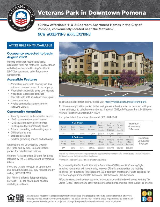 60 New Affordable 1- & 2-Bedroom Apartment Homes in the City of Pomona, conveniently located near the Metrolink. NOW Accepting Applications!