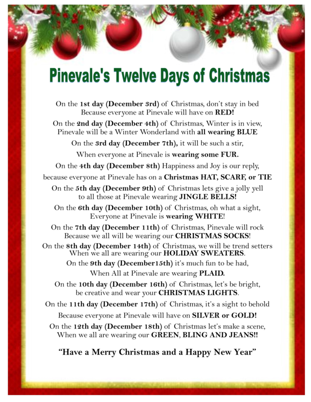 Pinevale's Twelve Days of Christmas