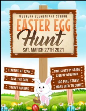 Western Easter Egg Hunt.  White bunny holding a sign.