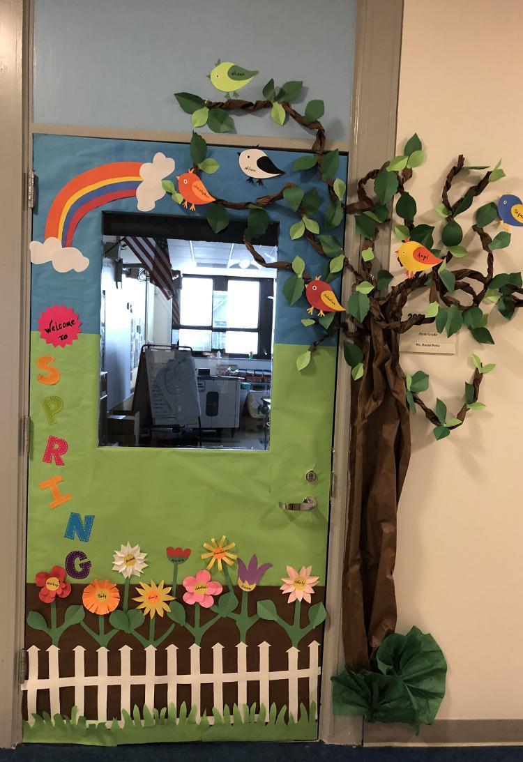 'Spring' decorated classroom door
