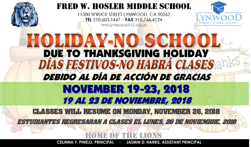 Thanksgiving Holiday-No School Featured Photo