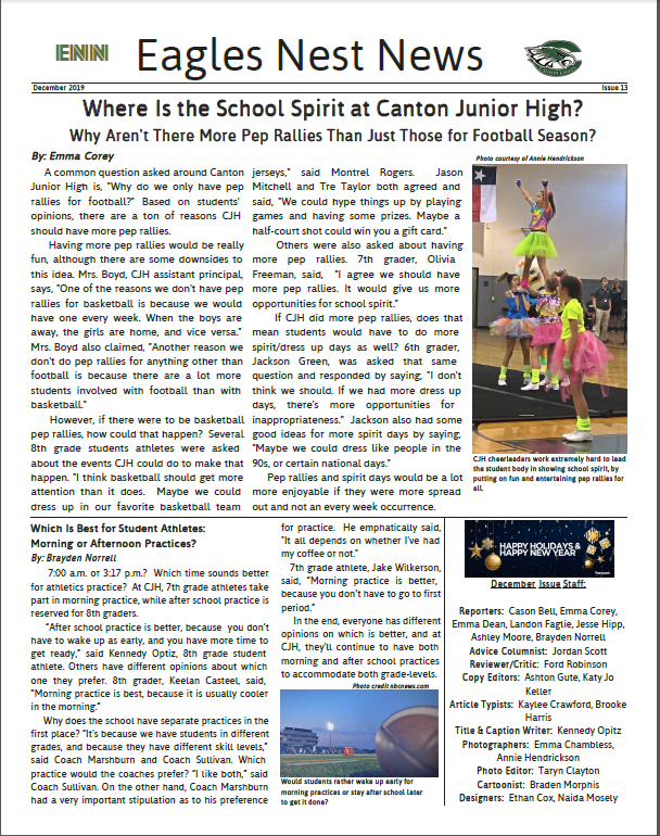 DECEMBER EDITION OF THE EAGLES' NEST Featured Photo