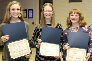 Pictured from left to right are Ella Sawyer, Cameron Price, and Isabella Parkman.  These eighth grade students from B-L Middle School were recently named SC Junior Scholars.
