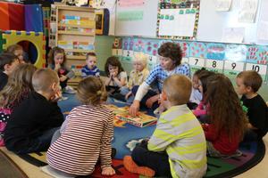 Image of preschool students in a classroom at Florida Mesa.