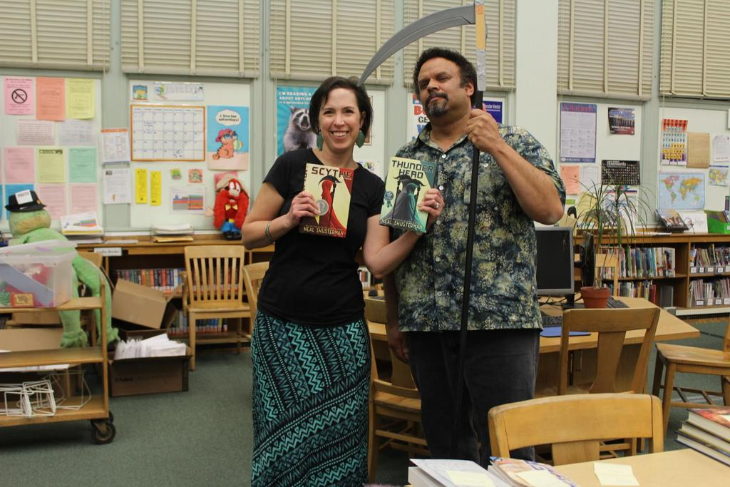 Author Neal Shusterman with our amazing Teacher Librarian Mrs. Celi