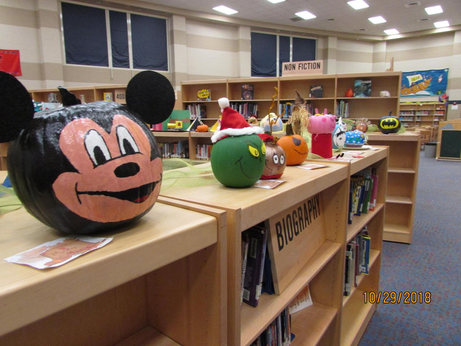 Photo of pumpkins in decorating contest.