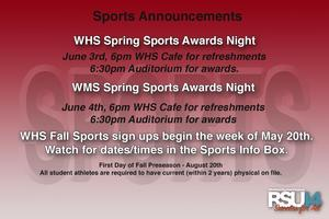 WHS Sports Announcements
