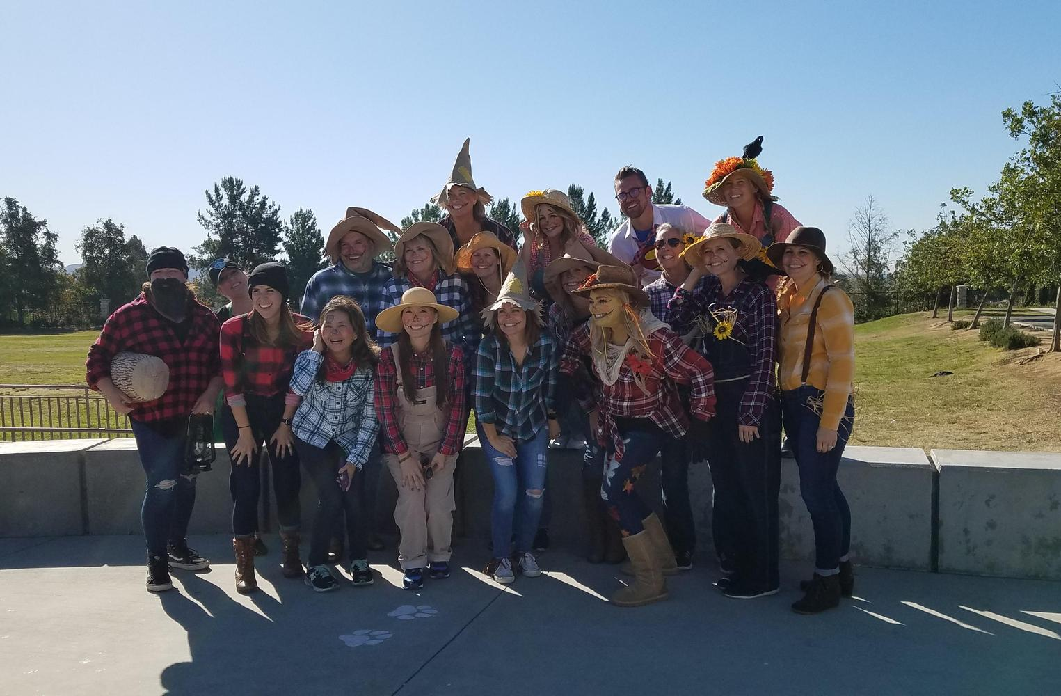 Staff scarecrows and lumber jacks dress up for Halloween