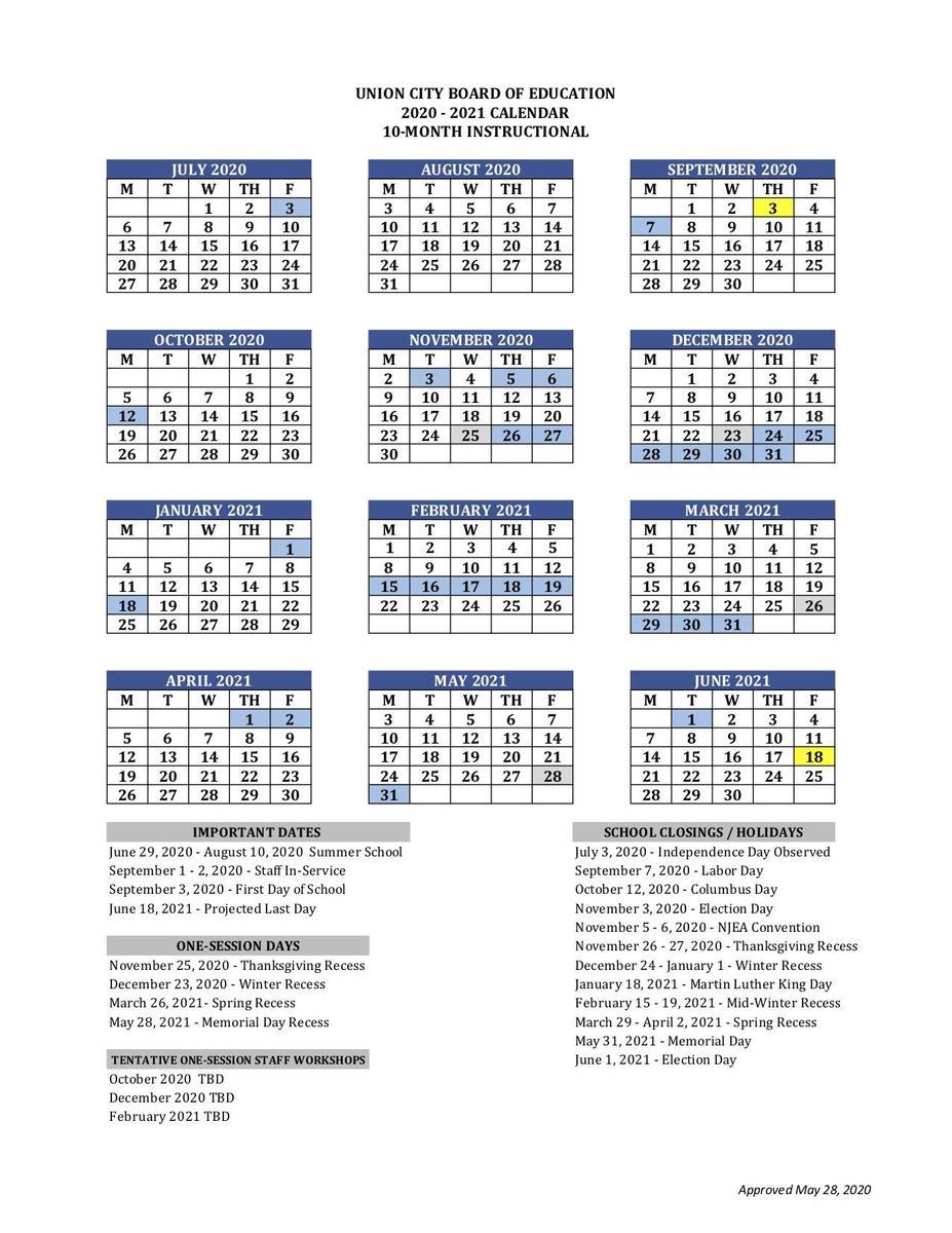 Printable School Calendar   Basics   Union City Public Schools