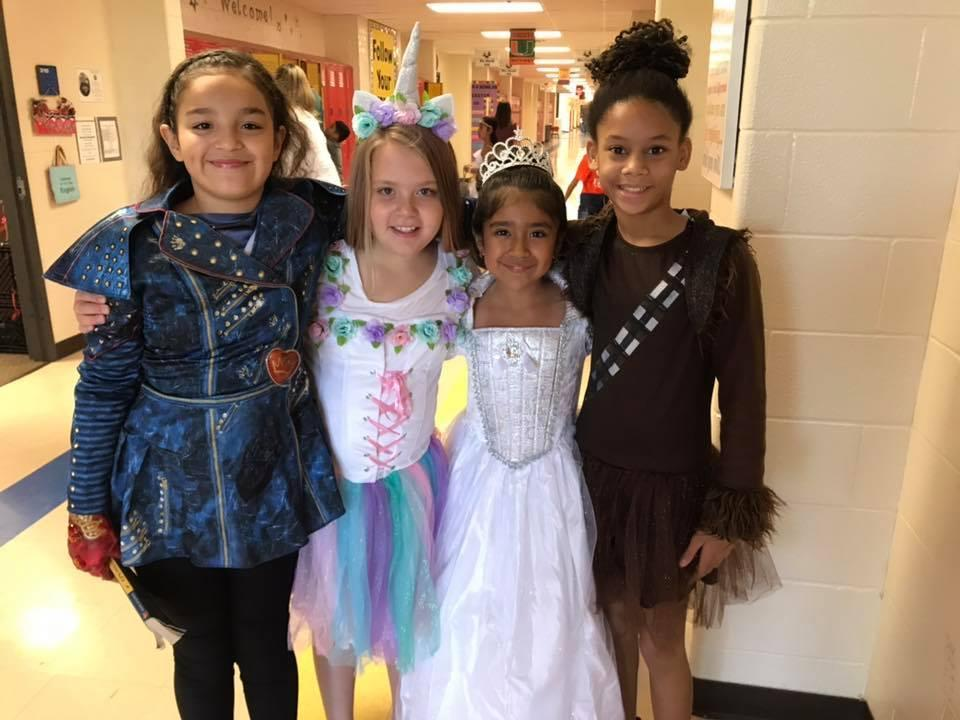 Students in costumes on Character Parade Day