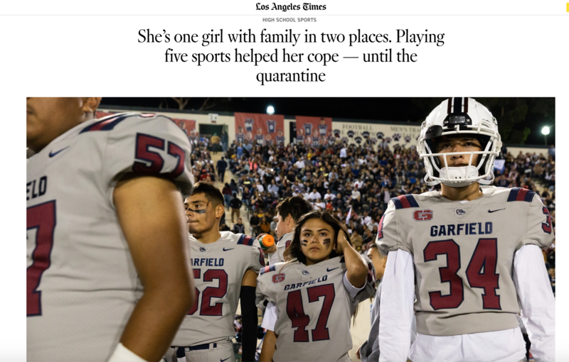 LA Times article featuring our GHS Football kicker Dalia Hurtado!