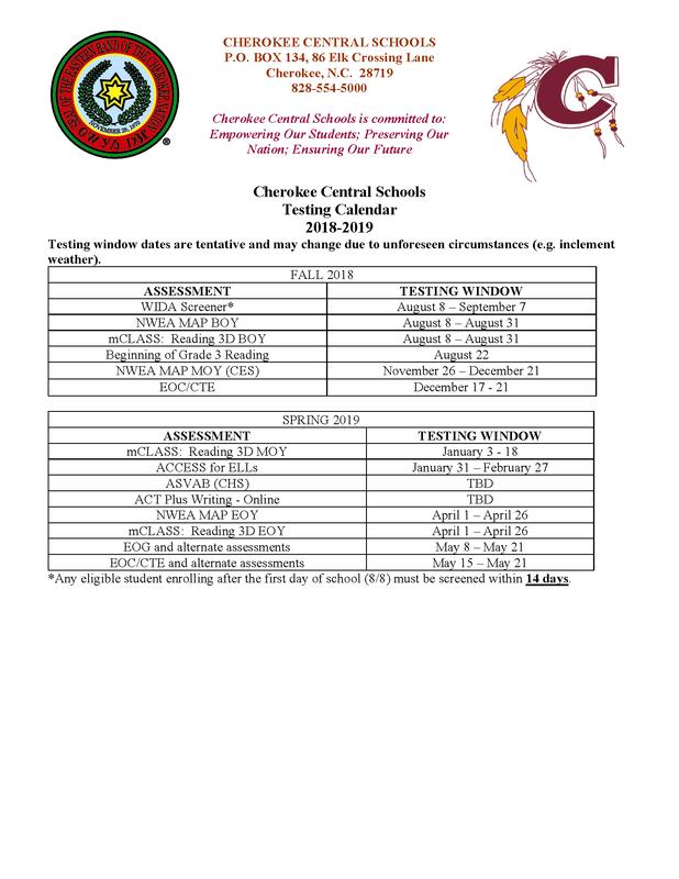 2018-2019 Cherokee Central Schools Testing Schedule