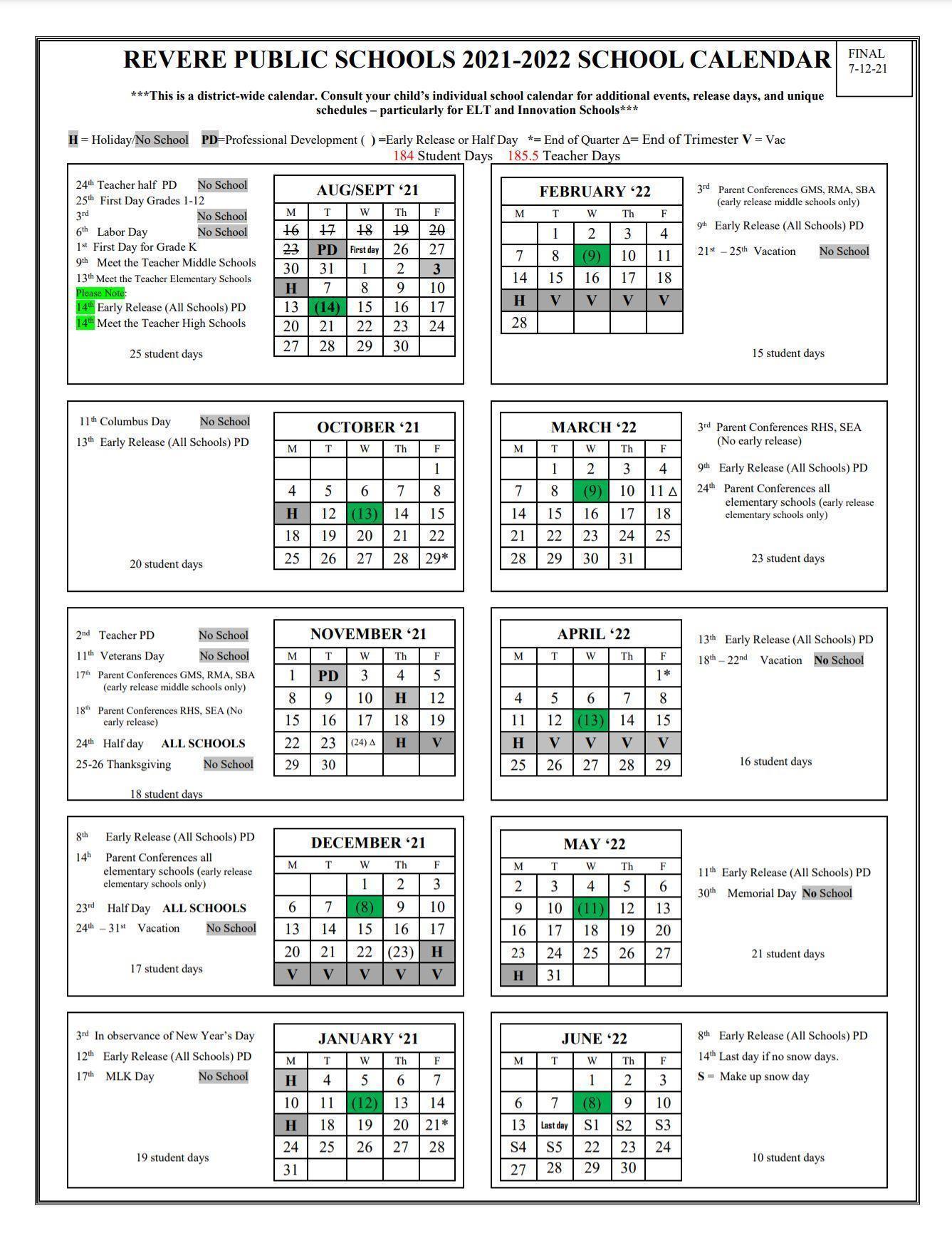 2020 - 2021 No School Dates