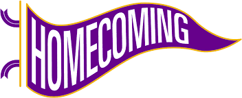 Homecoming banner in purple and yellow