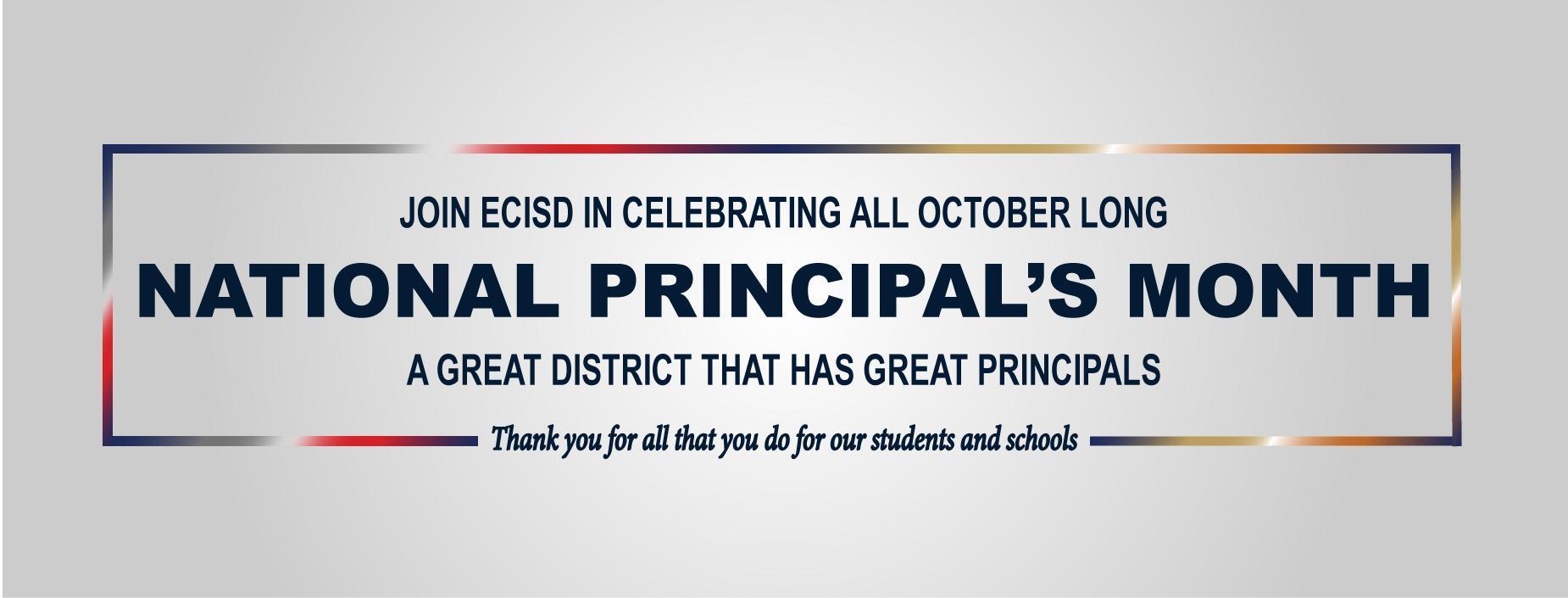Principal's Month Banner