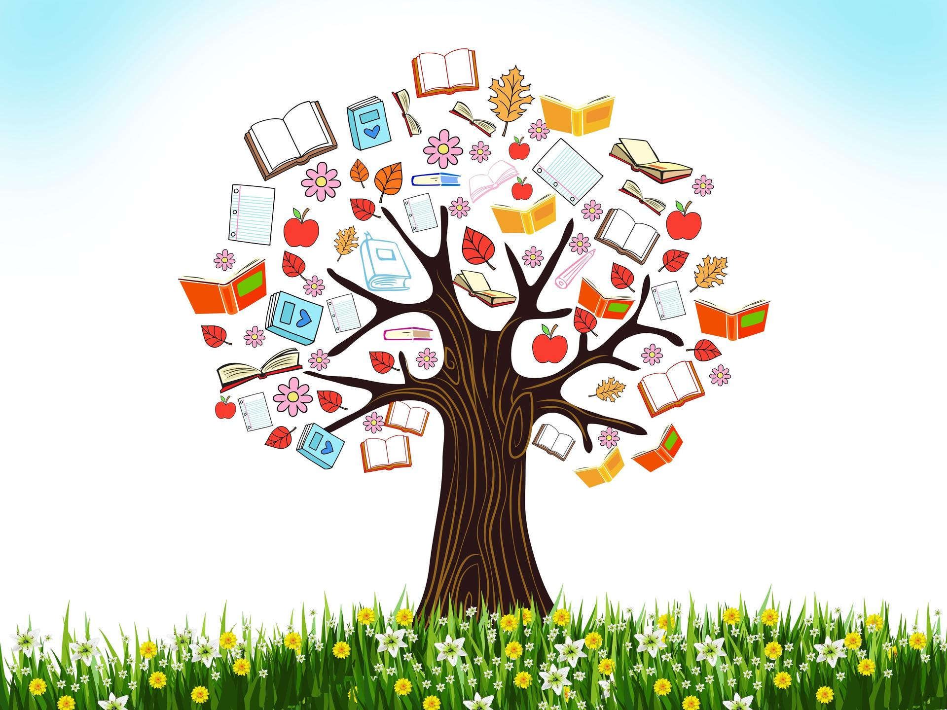 Tree with education supplies in branches