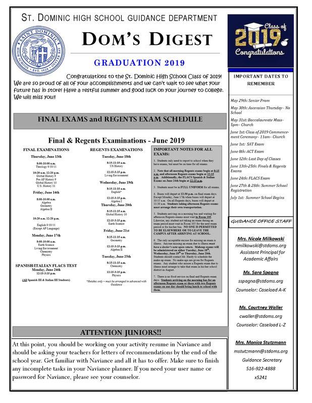 Dom's Digest - Guidance Department Newsletter (Graduation 2019 Edition) Featured Photo