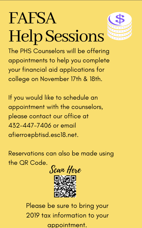FAFSA Help Sessions flier