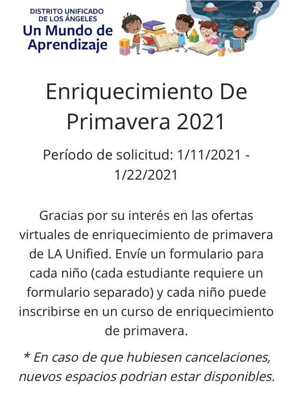 LAUSD Un Mundo de Aprendizaje Enriquecimiento De Primavera (Periodo de solicitud 1/11-22/2021) Featured Photo
