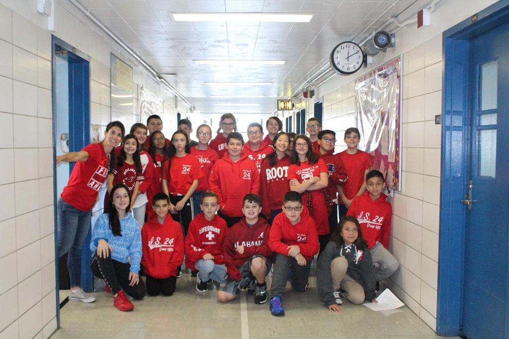Mrs. Marcantonio's class wears red