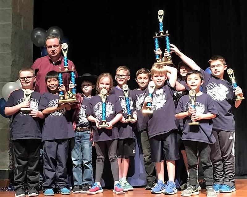 K-2nd and 3-5 BBES Chess Teams with 1st Place Trophy's