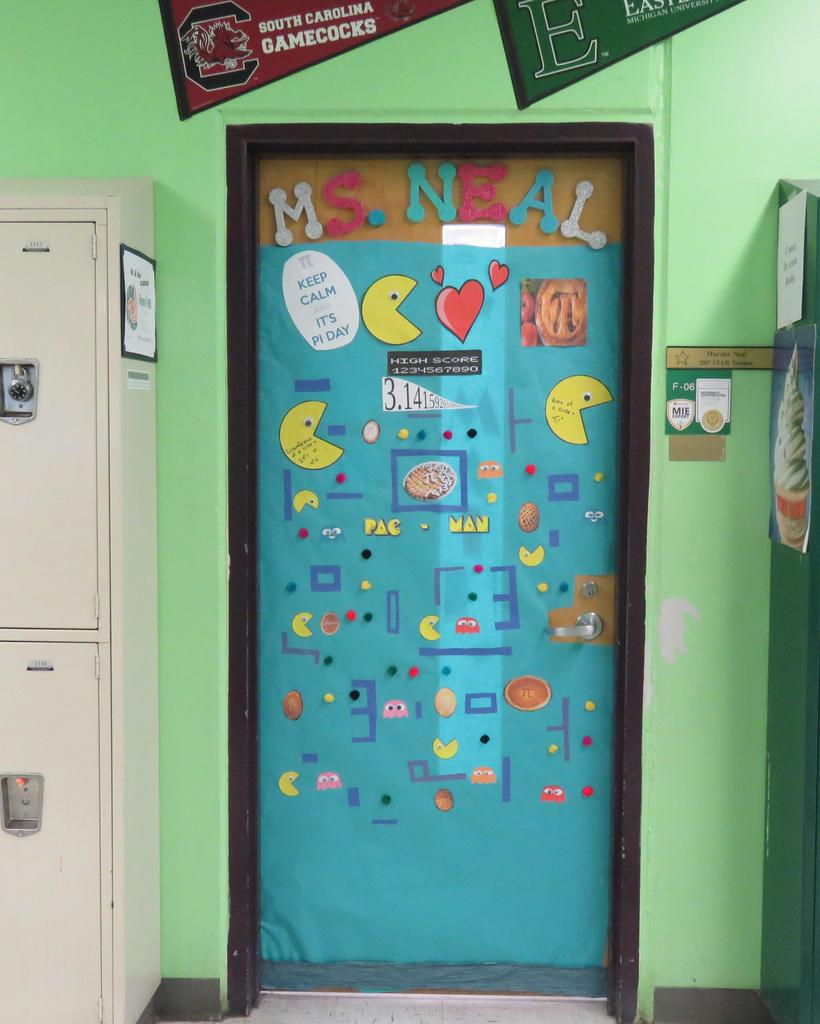 Pi Day decorated door