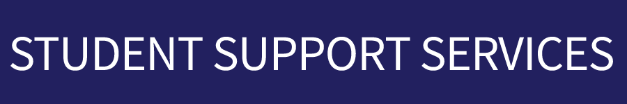 Student Support Services text on dark blue rectangle button