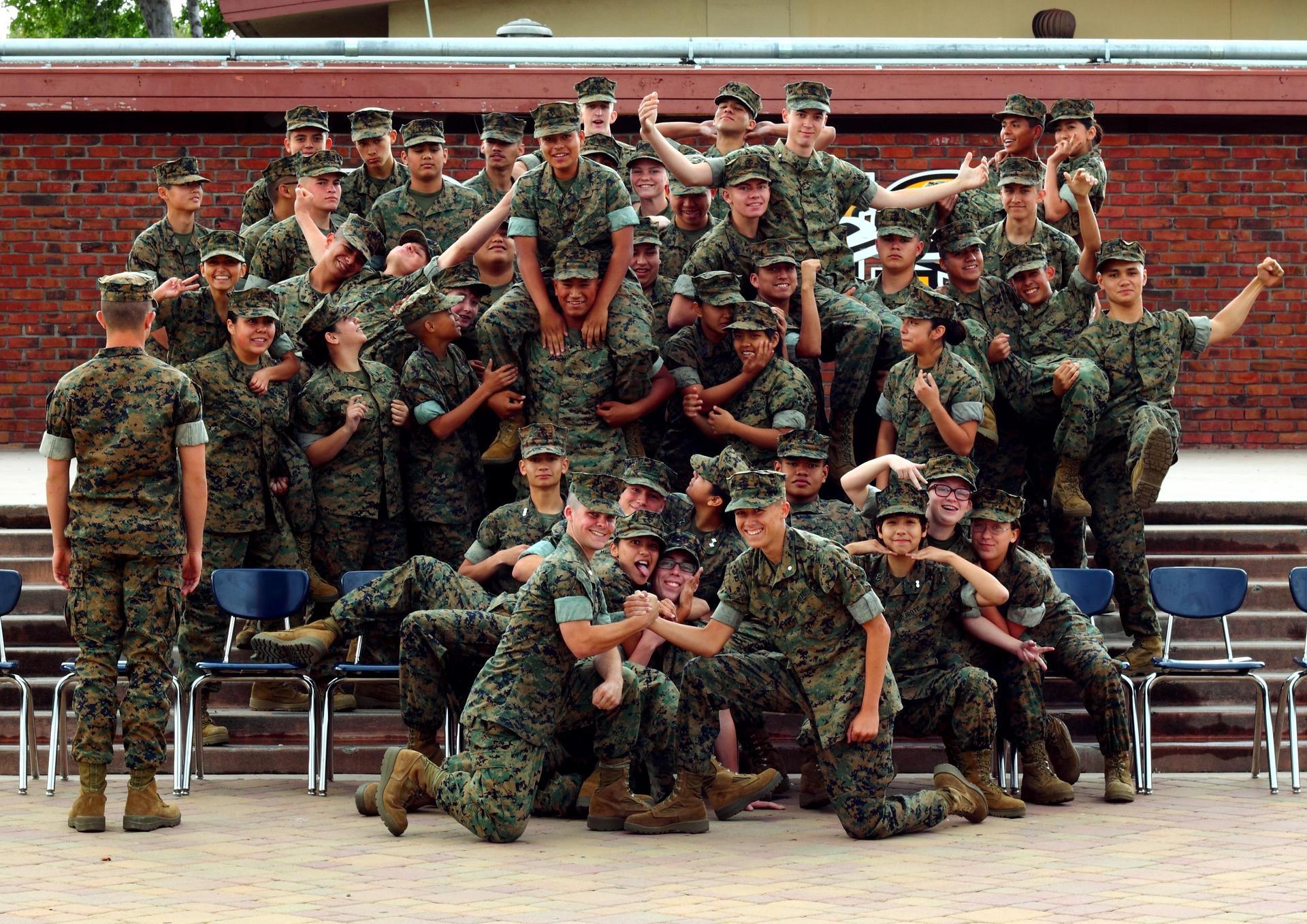 MCJROTC cadets having fun in Del Mar quad