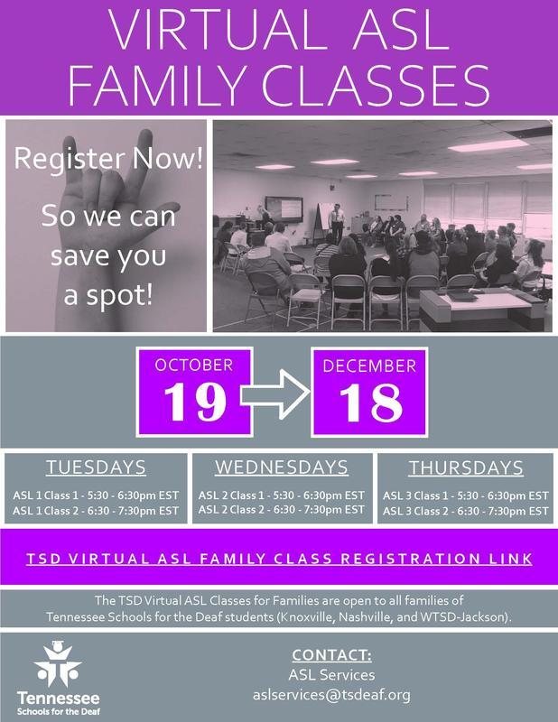 TSD Virtual ASL Family Classes - Fall 2020 Flyer