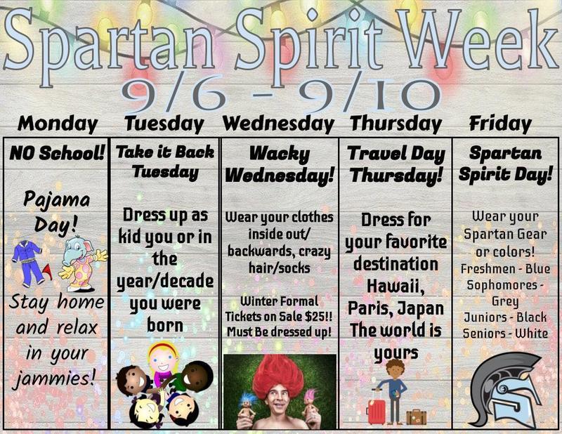 Spartan Spirit Week 9/6-9/10 Click for dress-up days Thumbnail Image