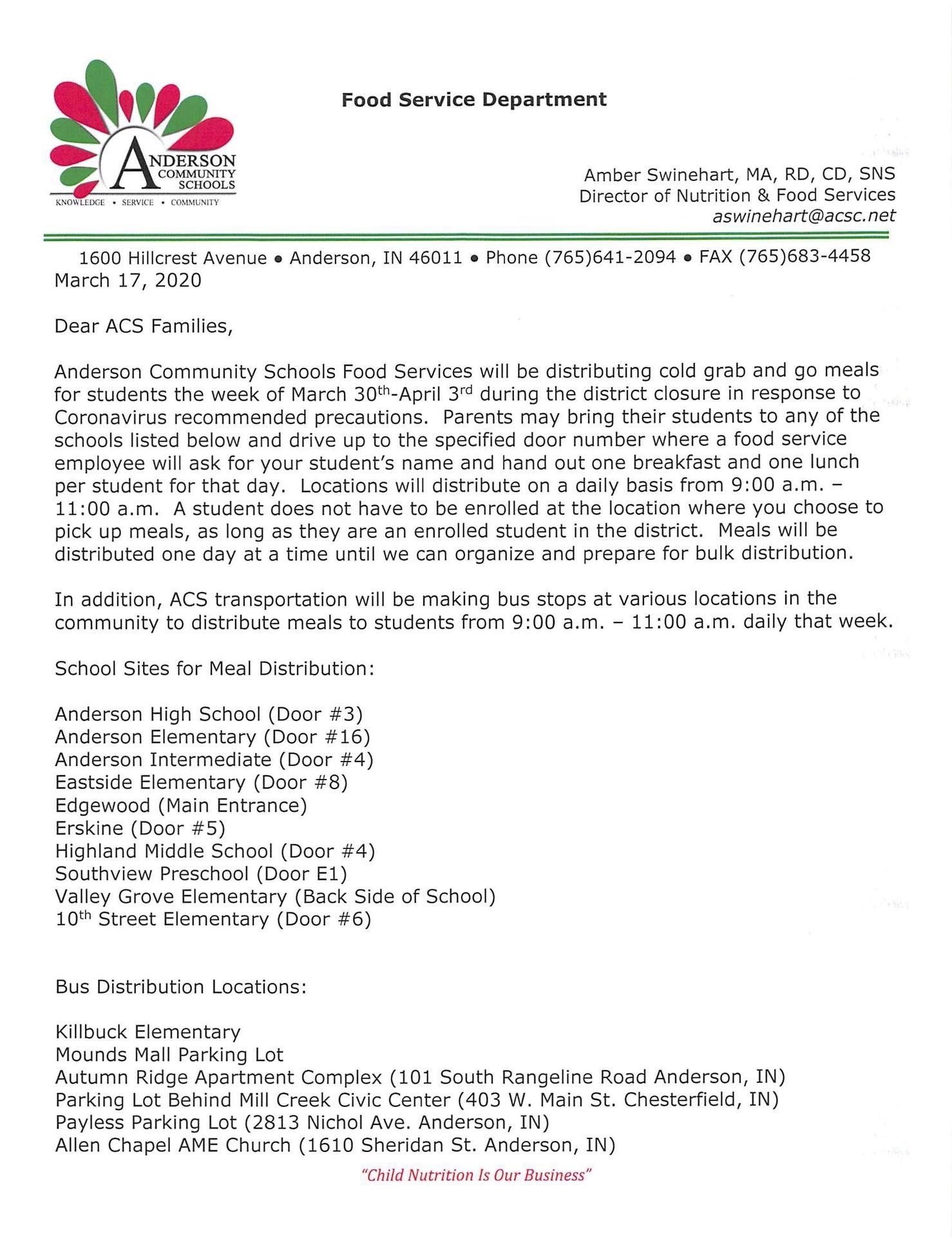 ACS Food Distribution plan 3/30-4/3/20
